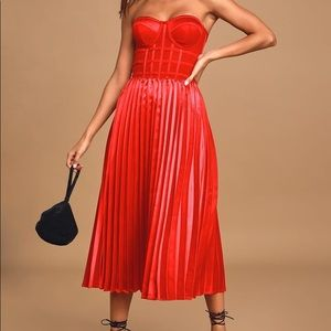 Red Pleated Strapless Bustier Midi Dress